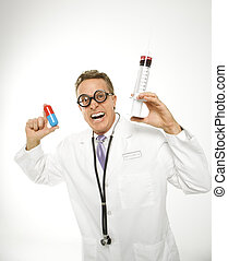 Quack doctor. - Mid-adult Caucasian male doctor wearing...