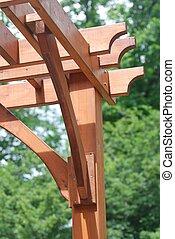 Wooden pergola close up