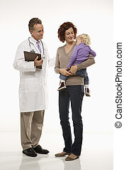 Pediatrician and patient - Middle-aged adult Caucasian male...