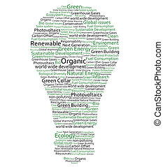 Various green words forming a light bulb on white background
