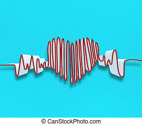Drawn heart beat line on blue background