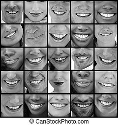 Collage of people smiling in black