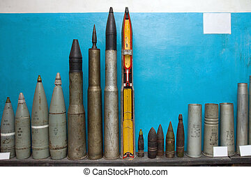Bombs and torpedoes in military soviet bunker. Korosten....