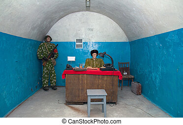 Military soviet bunker - Soviet man in uniforms in military...