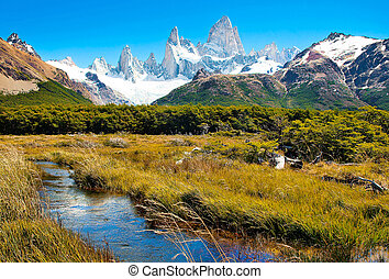 Scenic landscape in Patagonia - Beautiful landscape with Mt...