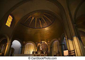 Basilica Altar Cross Dome Stained Glass Mission Dolores San Francisco California