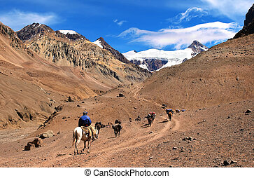 Mountain landscape in the Andes with hikers trekking,...