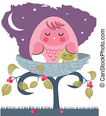asleep baby owl with mom - Is a illustration in a eps file