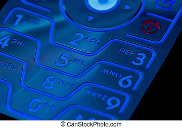 Cell Phone Keypad - A closeup of a cell phones illuminated...
