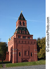 Moscow. Kremlin wall and tower. - Moscow. Kremlin wall....