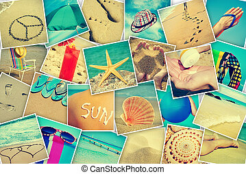 mosaic with pictures of different summer sceneries, shooted...