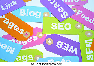 internet marketing and website ranking - paper labels of...