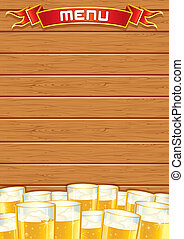 Blank Pub Menu Vector Wooden Background