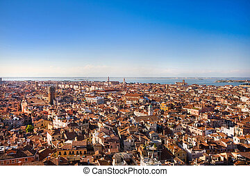Aerial view of Venice, Italy at sunset