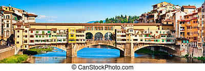 Ponte Vecchio in Florence at sunset - Panoramic view of...
