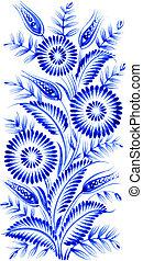 blue flower composition - blue, flower composition, hand...