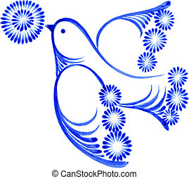 flying bird with flower, hand drawn, illustration in...