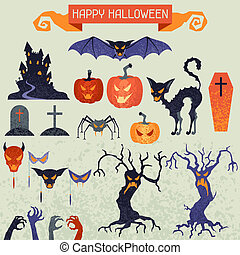 Happy Halloween elements and icons set for design
