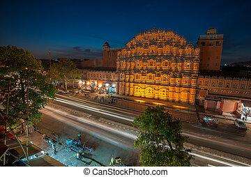 Hawa, MAHAL, Palácio, ventos, Jaipur, Índia