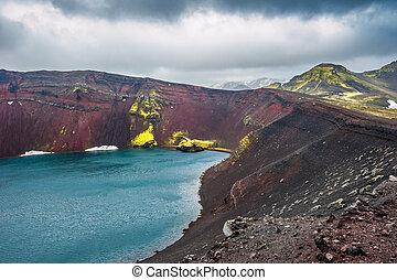 Ljotipollur crater lake, Landmannalaugar, Iceland