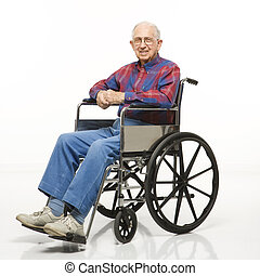 Elderly man in wheelchair. - Portrait of Caucasion elderly...