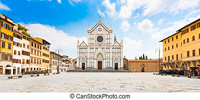 Piazza Santa Croce in Florence - Panoramic view of Piazza...
