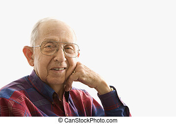 Portrait of elderly man - Portrait of smiling Caucasion...