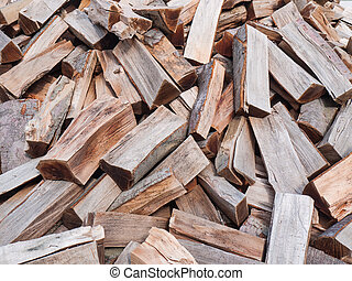 Chopped wood - Pile of chooped wood for fire as background