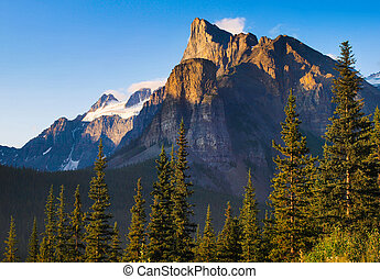 Beautiful landscape with Rocky Mountains at sunset
