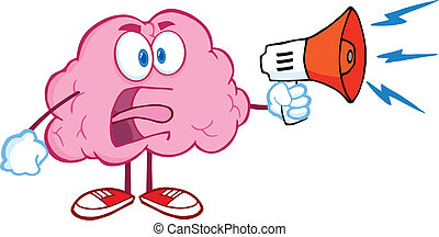 Angry Brain With Megaphone - Angry Brain Cartoon Character...