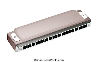 A Blues Harmonica Isolated on White Background - A...