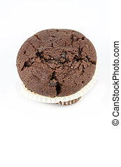 Chocolate muffin, isolated on white