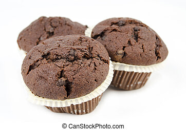 Chocolate muffins isolated on white - Sweet food - Dessert -...