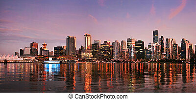 Beautiful view of Vancouver skyline at sunset as seen from...