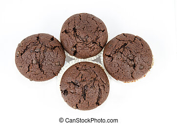 Group of chocolate muffins isolated