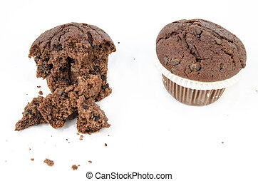 Chocolate muffin and crumbs
