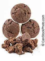 Chocolate muffins and crumbs