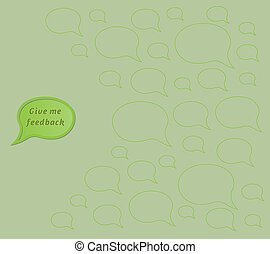 give me feedback speech bubble with empty bubbles - gradient...