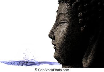 Serene Buddha and water background