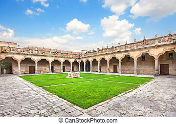 Courtyard of famous University of Salamanca, the oldest...
