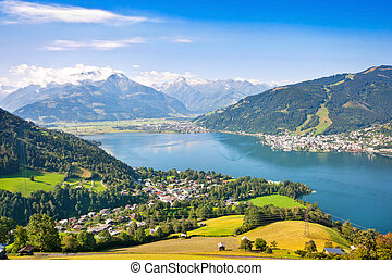 Beautiful landscape with Alps and Zeller See in Zell am See,...