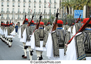 Ceremonial parade of Greek national guard in Athens