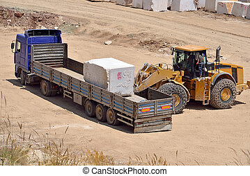 Marble quarry - A loader in marble quarry