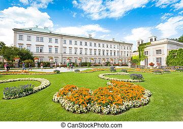 Famous Schloss Mirabell with Mirabellgarten in Salzburg,...
