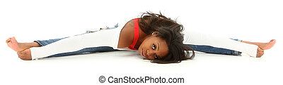 Beautiful black woman doing a split on white floor Clipping...