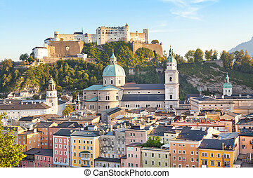 Beautiful view of Salzburg skyline at sunset
