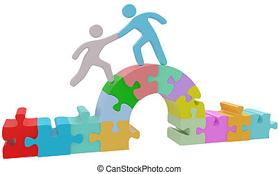 People help bridge puzzle solution - People join together to...