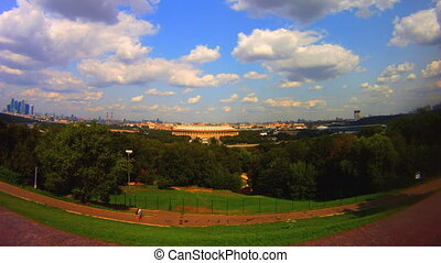 view from the observation deck Vorobyovy Gory Moscow Russia...