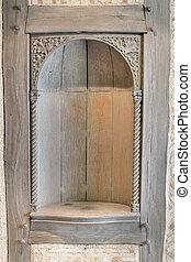 nicho, viejo, pared, madera, tallado,  exterior