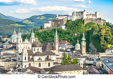 Salzburg, Austria - Beautiful view of the historic city of...